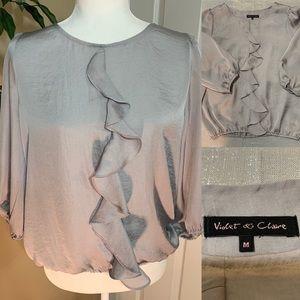 Violet & Claire silver ruffle blouse size M